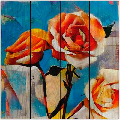 картина на дереве розы