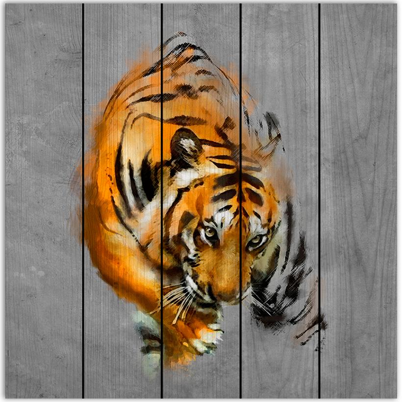 картина на дереве тигр