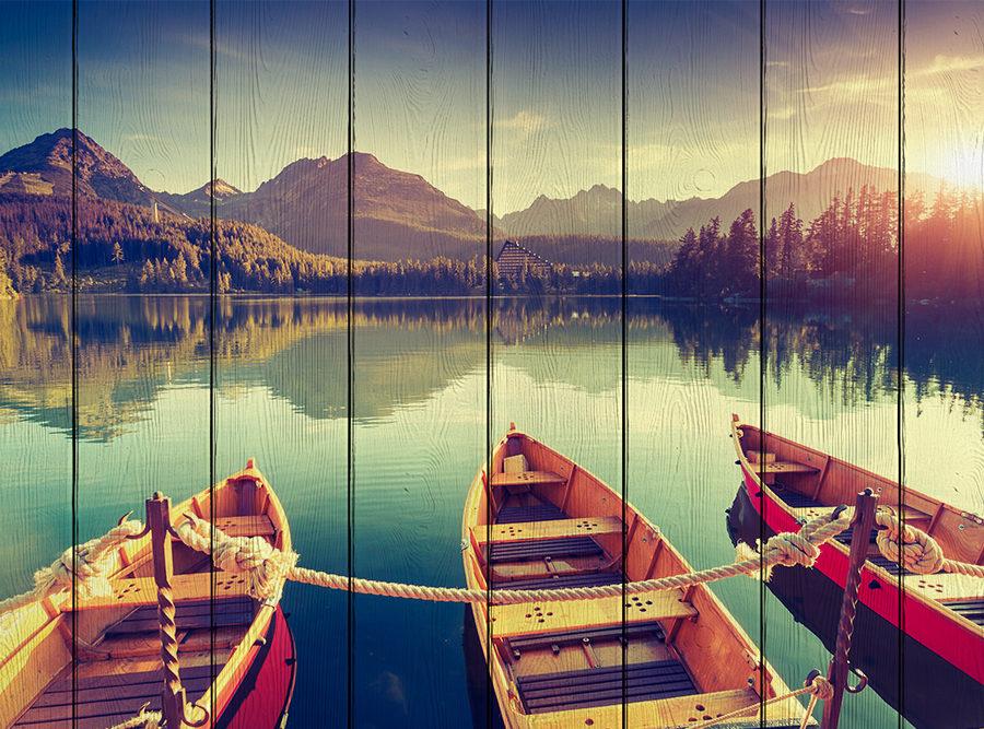 картина лодки на берегу