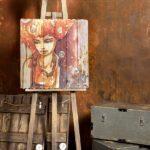 картины на дереве рыжая девушка