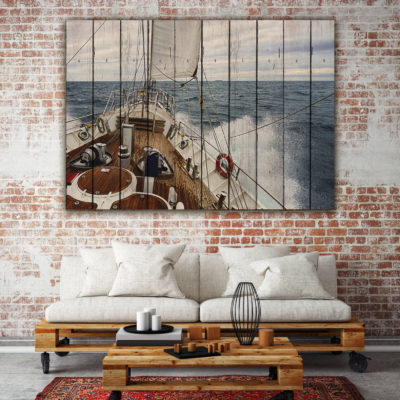картина на досках корабль море