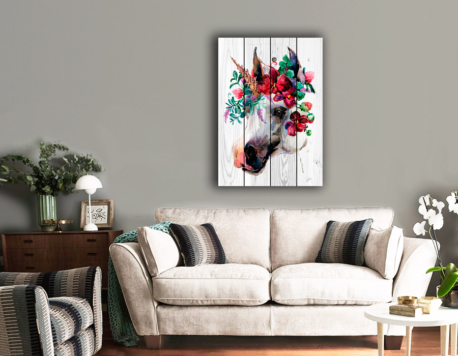 картина белая лошадь