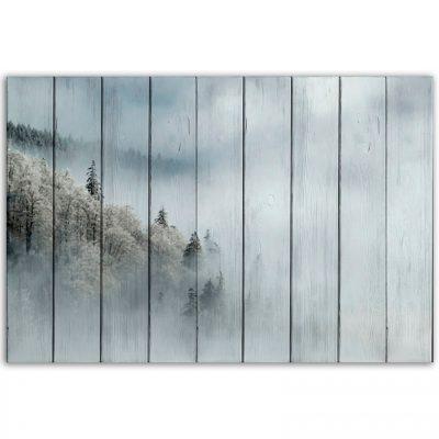 картина лес в тумане