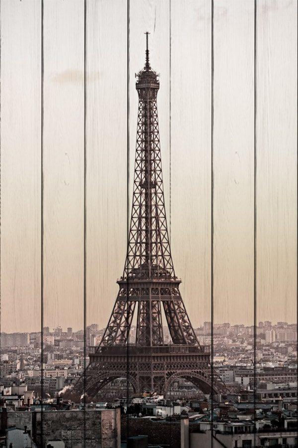 картина на дереве Эйфелева башня