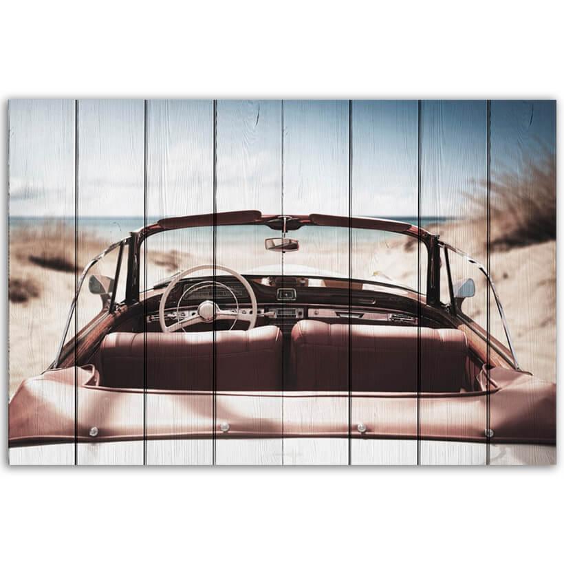 картина машина на пляже