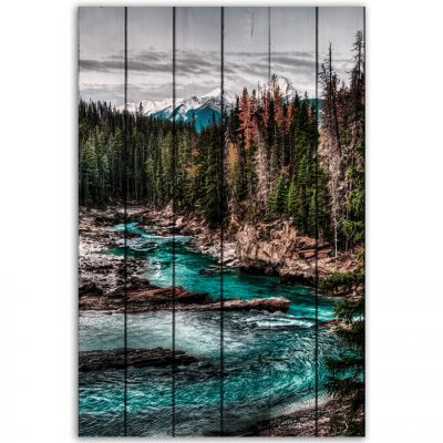 картина река лес