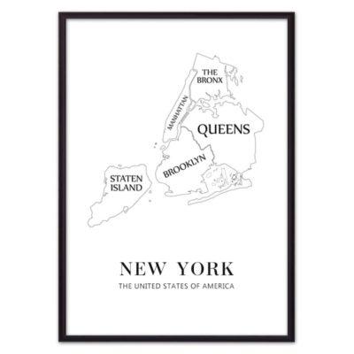 постер карта Нью-Йорк