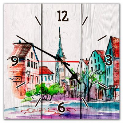 часы с городом
